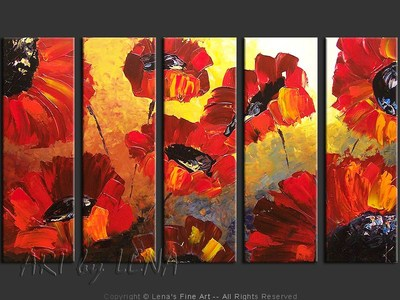 The Red Flowers of My Childhood - original painting by Lena Karpinsky