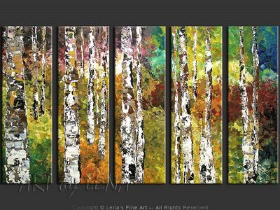 Birches In Spring - contemporary painting