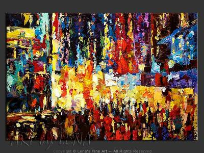 Night Street Etude - original canvas painting by Lena