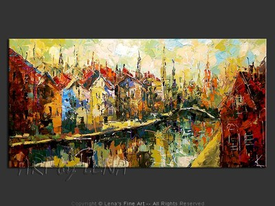 Autumn In Amsterdam - original canvas painting by Lena