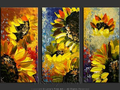 Cordoba Sunflowers - original canvas painting by Lena