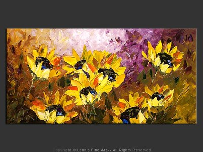 Sunflower Harmony - original canvas painting by Lena