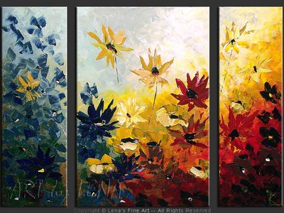 Nocturnal Flowers - contemporary painting