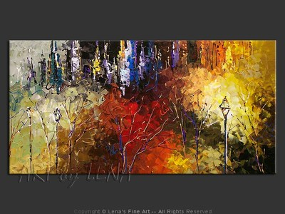 Central Park: Colorful Twilight - modern artwork