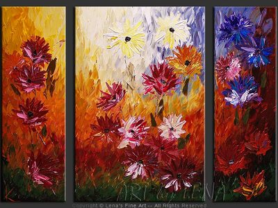 New York Asters - contemporary painting