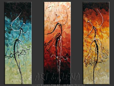 Dancing Silhouettes - original canvas painting by Lena