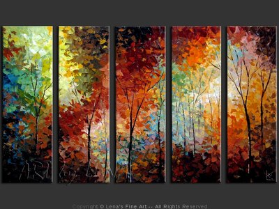 The Colorful Autumn - original canvas painting by Lena