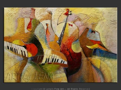 Street Musicians - original canvas painting by Lena