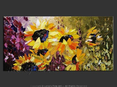 Sunflower Fields Forever - original painting by Lena Karpinsky