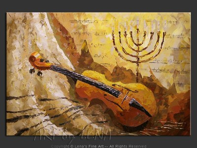 Violin And Menorah - original canvas painting by Lena