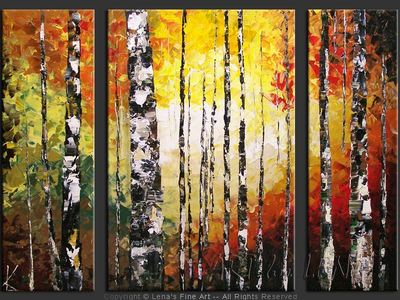 Birch Forest In The Fall - modern artwork