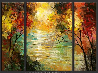 Forest Lake - original canvas painting by Lena