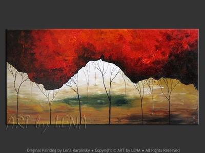 Maroon Woods - modern artwork