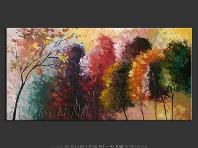 Northern Fall Rainbow - original painting by Lena Karpinsky