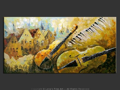 Bass and Cello - original painting by Lena Karpinsky