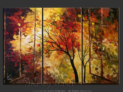 Window To The Autumn Paradise - contemporary painting