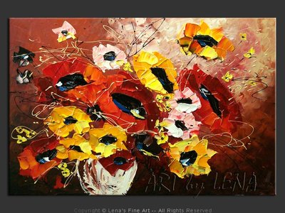 May Avenue Bouquet - original canvas painting by Lena