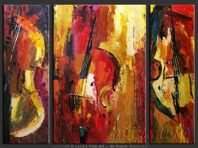 Double Bass Parade - original painting by Lena Karpinsky