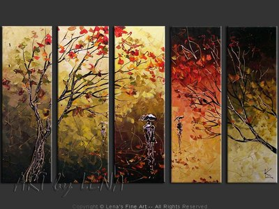 Autumn Silhouettes - original canvas painting by Lena