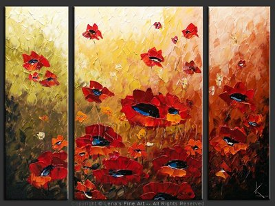 Sunset Poppy Field - modern artwork