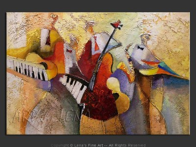 Jazz Boys - original canvas painting by Lena