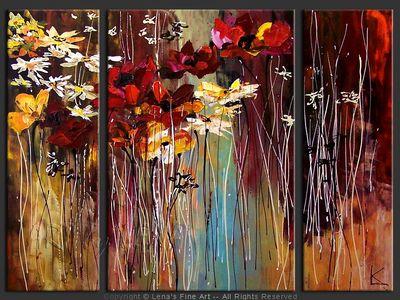 Late Autumn Flowers - original painting by Lena Karpinsky