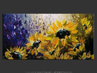 Moonlight Sunflowers - contemporary painting