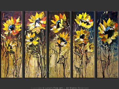 Roadside Sunflowers - contemporary painting