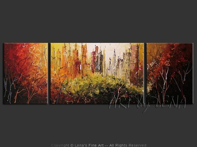 Central Park in October - original canvas painting by Lena