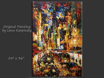 Downtown Traffic - original canvas painting by Lena