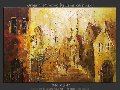 Quiet Street In Old Brugge - original painting by Lena Karpinsky
