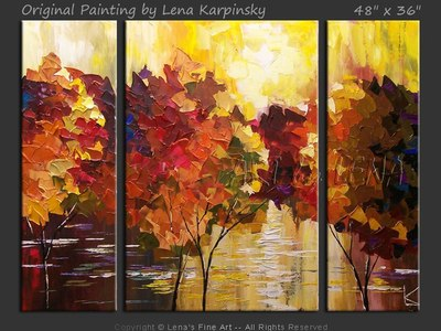 Forest Lake in October - original canvas painting by Lena