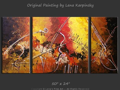 Amazing Cellos: Overture - original painting by Lena Karpinsky