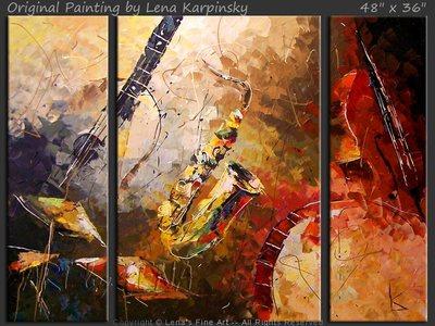 Blue Guitar and Red Bass - original painting by Lena Karpinsky