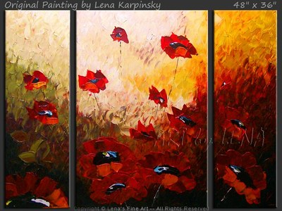 Golan Heights Poppies - contemporary painting