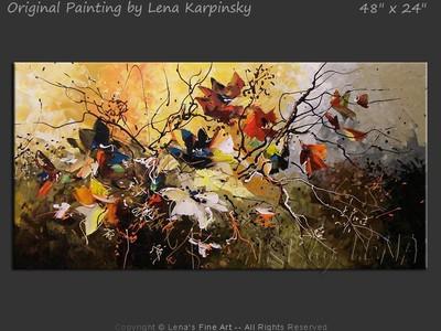 Ikebana #837 - original canvas painting by Lena
