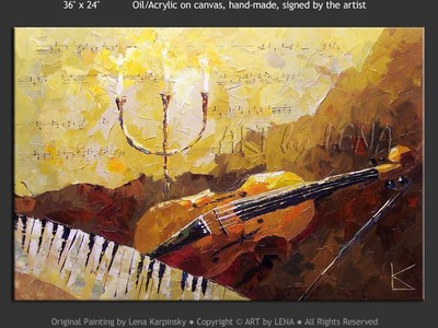 Five-string Viola and Virginal - contemporary painting