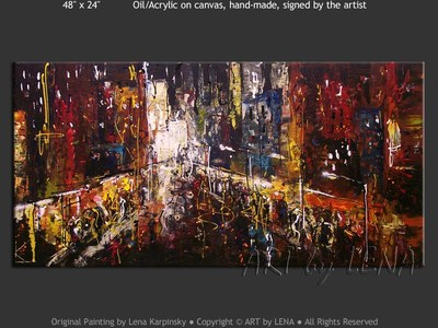 Summer Night Broadway - original painting by Lena Karpinsky