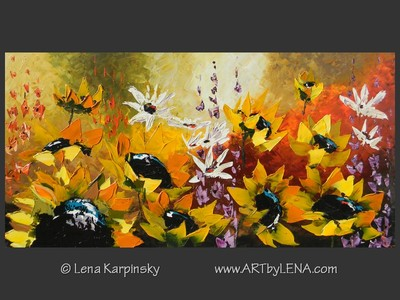 Sunflower Garden - original canvas painting by Lena