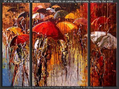 Rain - original painting by Lena Karpinsky