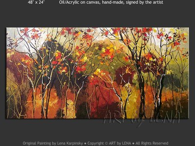 Colors of Autumn Leaves - original painting by Lena Karpinsky