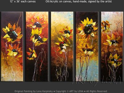 Evening Sunflowers - original canvas painting by Lena