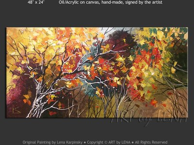 Amazing Fall Colors - original canvas painting by Lena