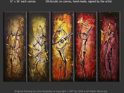 Contemporary Jazz - original canvas painting by Lena