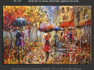 Paris Street Scene: Rain - contemporary painting