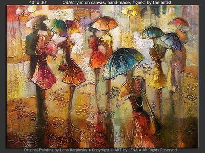 Avec la pluie - original canvas painting by Lena
