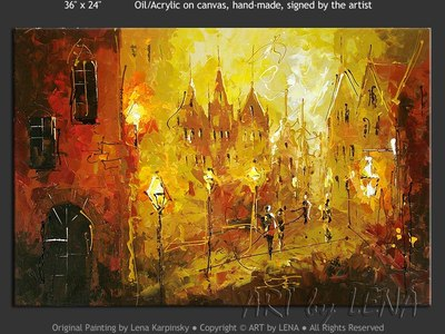 Ghent Streets Fantasy - original canvas painting by Lena