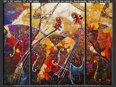 Le Grand Chapiteau Musique - original canvas painting by Lena