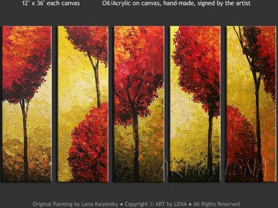 Deco Trees - original canvas painting by Lena