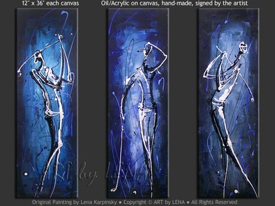 Blue Golfers - art for sale